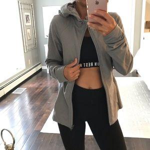 Lululemon gray zip up thump hole hoodie jacket 6